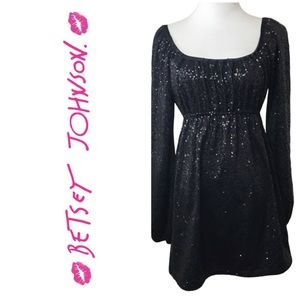 Betsey Johnson Black Sequins Dress. Sz P